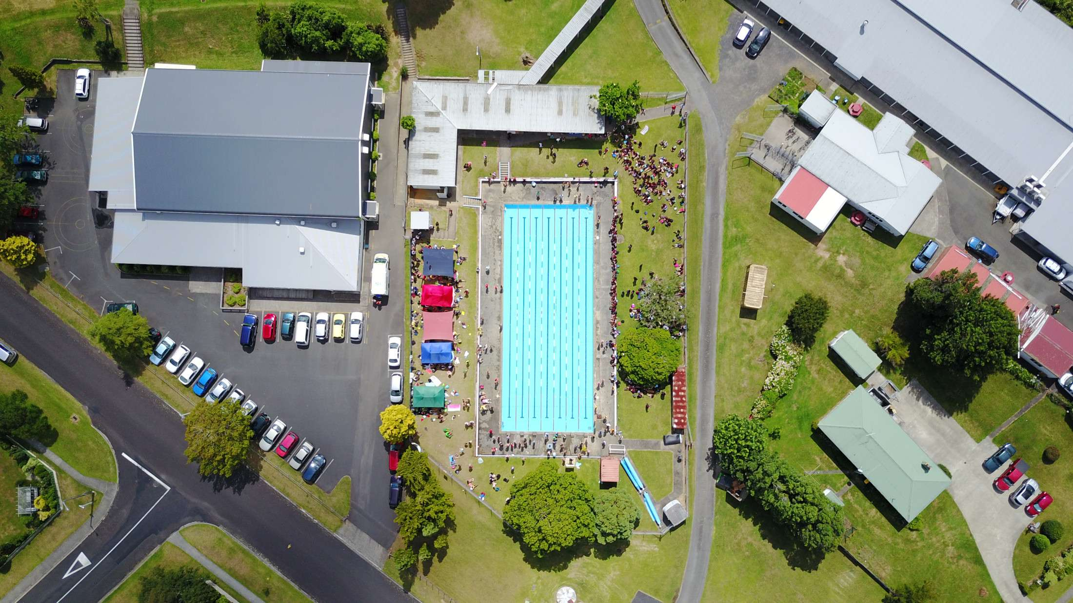 Aerial View Of Gymnasium And Pool